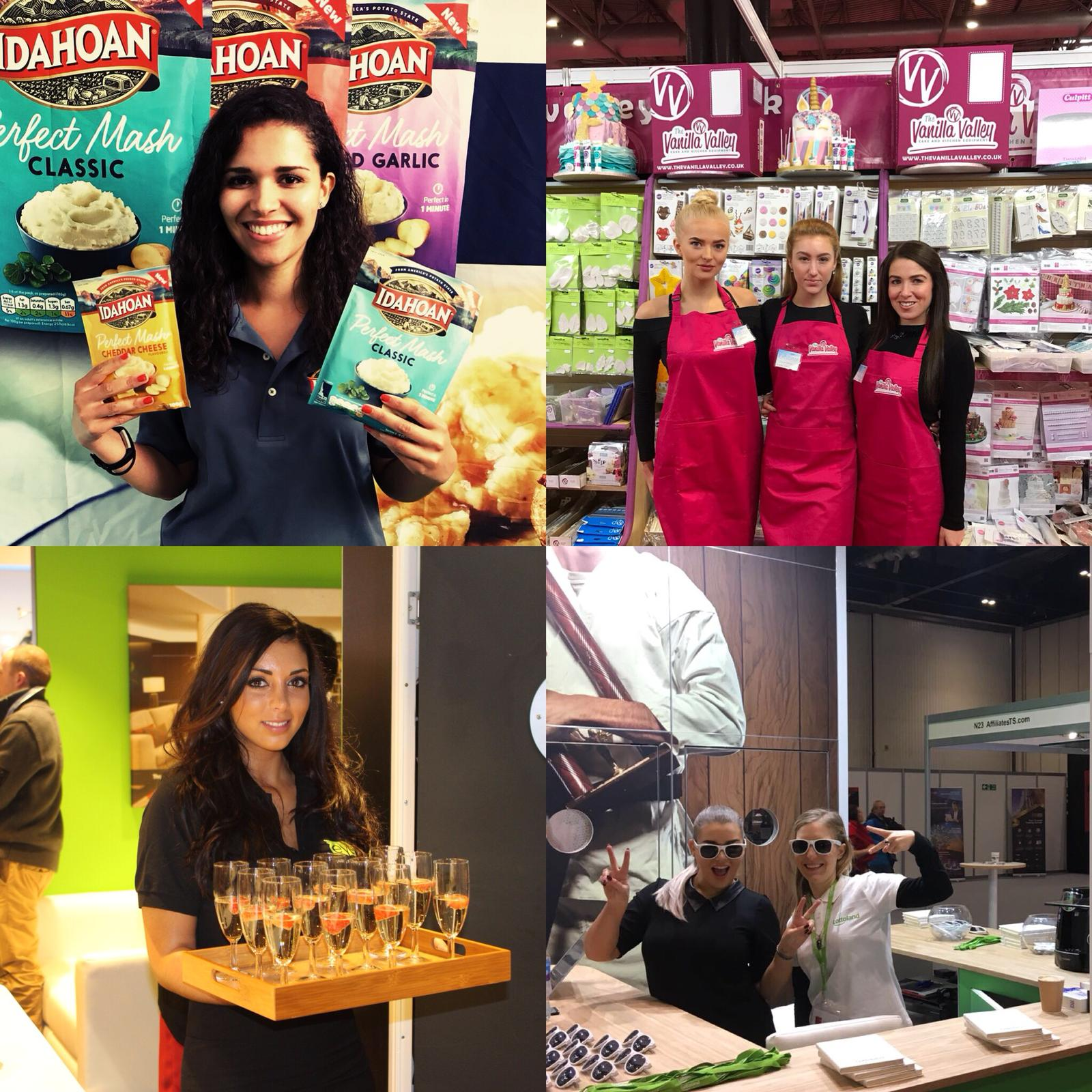 Promotion girls for hire at The International Food and Drink Expo ExCel London